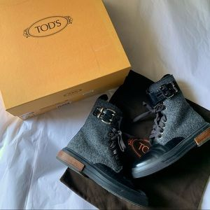 Tod's Boots 35 Gomma Winter Buckle Wool Leather